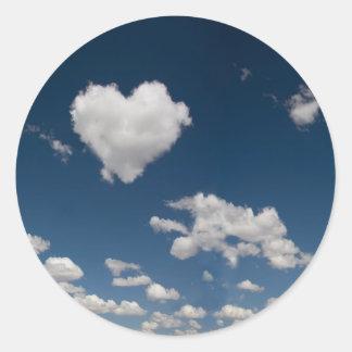 Heart shaped cloud round sticker