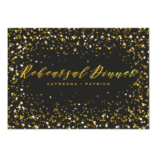 Heart-Shaped Confetti Black Gold Rehearsal Dinner Card