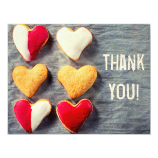 Heart Shaped Cookies on Slate Thank You Card