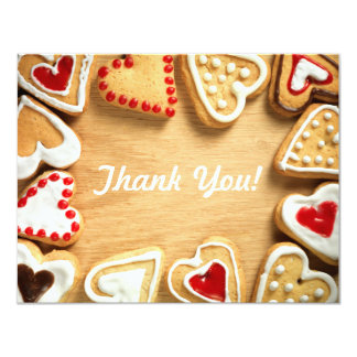 Heart Shaped Cookies on Wood Flat Thank You Card