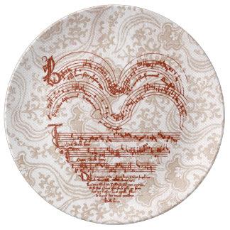 Heart-Shaped Deep Red Medieval Music Manuscript Plate