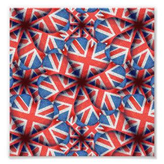 Heart Shaped England Flag Pattern Design Photo Print