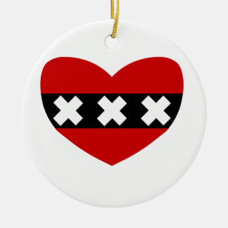 Heart Shaped Flag of Amsterdam Christmas Ornament