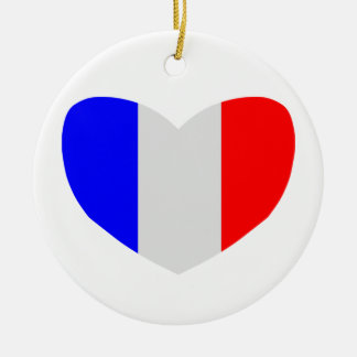 Heart Shaped Flag of France Christmas Ornament