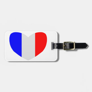 Heart Shaped Flag of France Luggage Tag