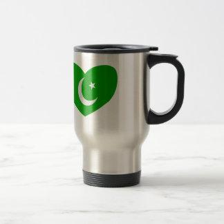 Heart Shaped Flag of Pakistan Travel Mug