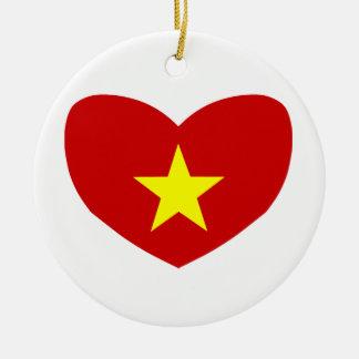 Heart Shaped Flag of Vietnam Round Ceramic Decoration