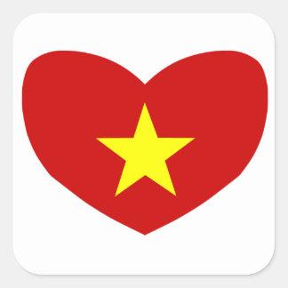 Heart Shaped Flag of Vietnam Square Sticker