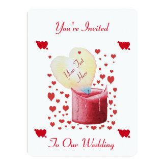 heart shaped flame romantic wedding design 17 cm x 22 cm invitation card