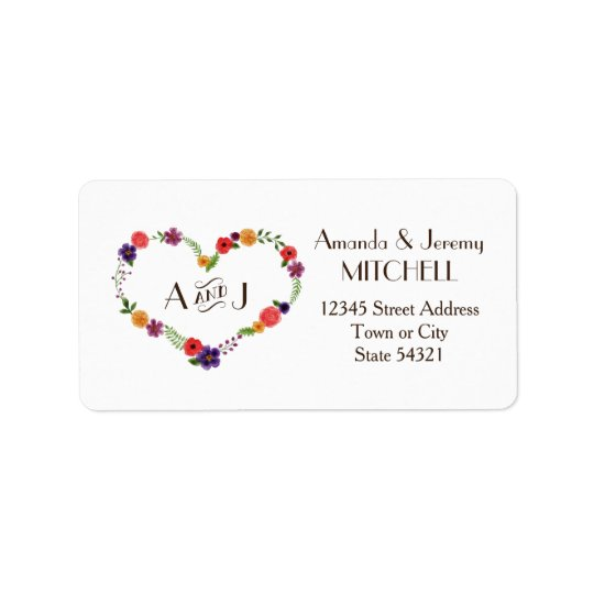 Heart-Shaped Flower Wreath Rustic Wedding Address Label