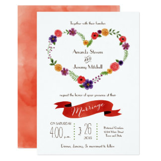 Heart-Shaped Flower Wreath Rustic Wedding Card