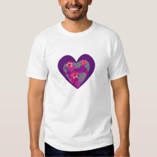 Heart shaped flowers and love teeshirt t shirts