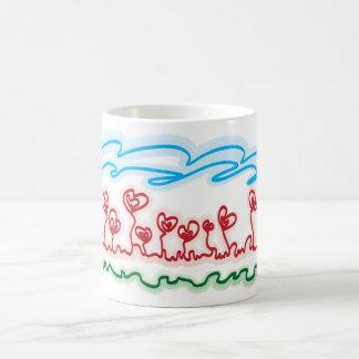 heart shaped flowers tea cup basic white mug