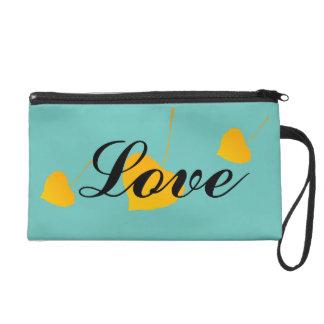 Heart Shaped Gold Leaves Love Design Custom Color Wristlet