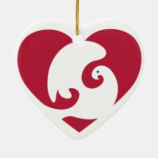 Heart shaped Heart & Dove ornament