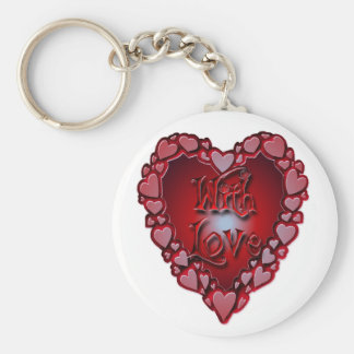 HEART SHAPED HEARTS WITH LOVE by SHARON SHARPE Keychains