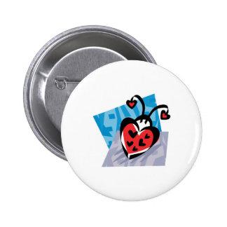 heart shaped ladybug 6 cm round badge