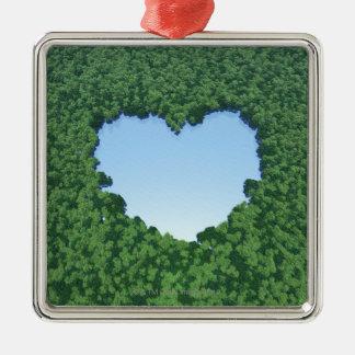 Heart-Shaped Lake Christmas Ornament