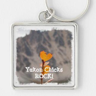 Heart-Shaped Leaf; Yukon Chicks ROCK Silver-Colored Square Key Ring