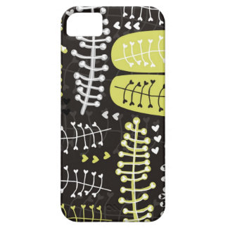heart shaped leaves gray black green on dark iPhone 5 cases