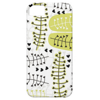 heart shaped leaves gray black green on white case for the iPhone 5