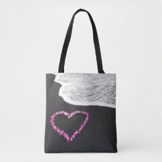 Heart Shaped Lei on Black Sand Beach Tote Bag