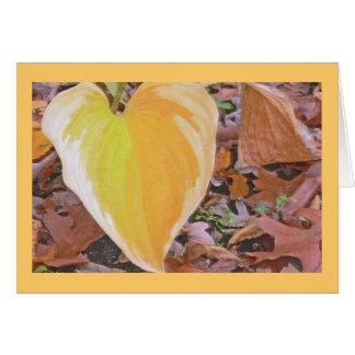 """HEART SHAPED, LIME-YELLOW & MARIGOLD HOSTA LEAF"" GREETING CARD"