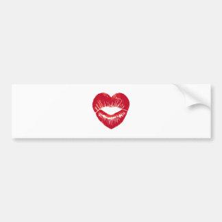 Heart shaped lips lipstick traces kiss bumper sticker
