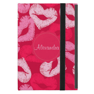 Heart shaped lips, lipstick traces, kiss name cover for iPad mini