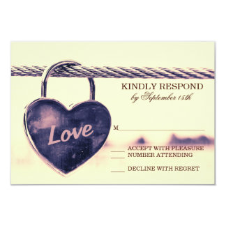 Heart Shaped Lock Love Wedding RSVP Cards 9 Cm X 13 Cm Invitation Card