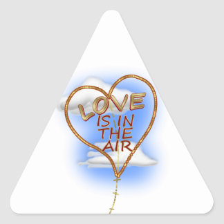 """Heart Shaped """"Love Is In The Air"""" Triangle Sticker"""