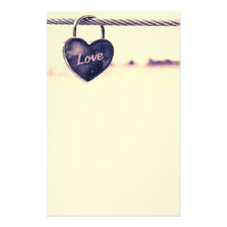 Heart Shaped Love Padlock Attached to a Rope Stationery