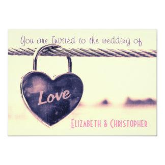 Heart Shaped Love Padlock Wedding 13 Cm X 18 Cm Invitation Card