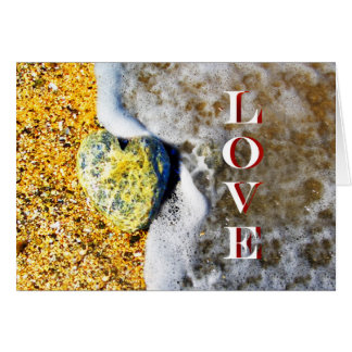 Heart shaped Love Pebble on the Beach Greeting Card