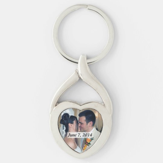 Heart Shaped Metal Photo Key Chain Silver-Colored Twisted Heart Key Ring
