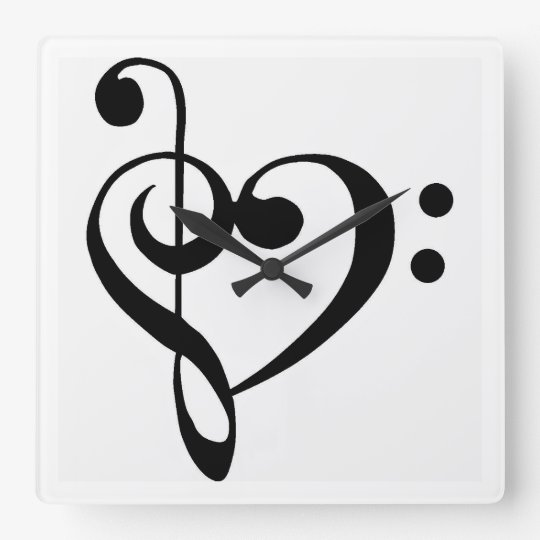 """""""HEART SHAPED MUSICAL NOTE"""" CLOCK"""