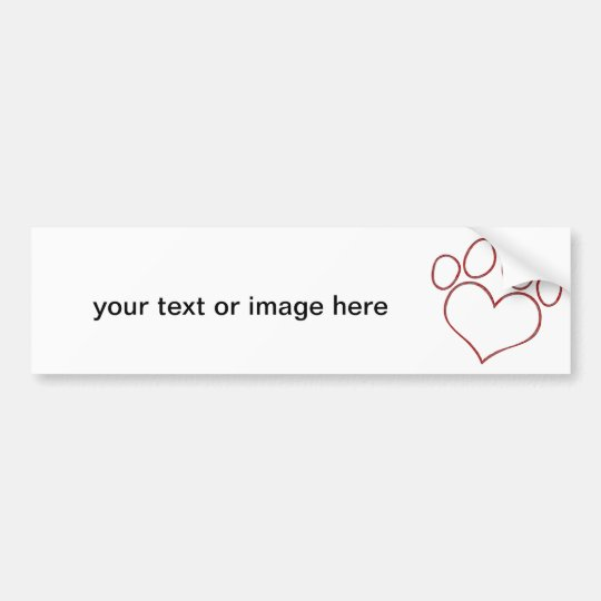 Heart Shaped Paw Print Dog Cat Puppy Kitten Bumper Sticker