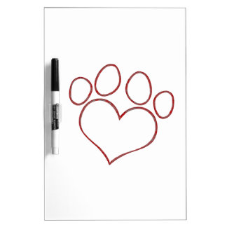 Heart Shaped Paw Print Dog Cat Puppy Kitten Dry Erase Board