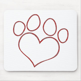 Heart Shaped Paw Print Dog Cat Puppy Kitten Mouse Pad