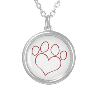 Heart Shaped Paw Print Dog Cat Puppy Kitten Round Pendant Necklace