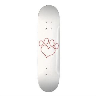 Heart Shaped Paw Print Dog Cat Puppy Kitten Skateboard