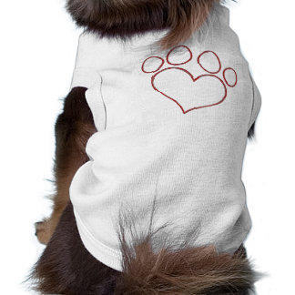 Heart Shaped Paw Print Dog Cat Puppy Kitten Sleeveless Dog Shirt