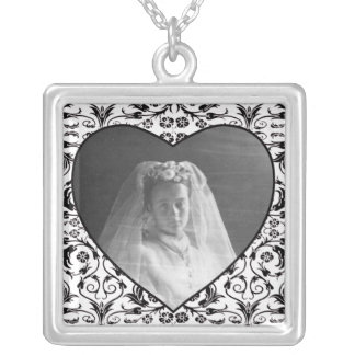 Heart Shaped Photo Frame Floral Square Pendant Necklace