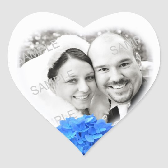 Heart Shaped Photo & Hydrangea Wedding Sticker