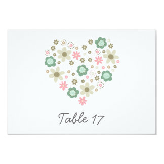 heart shaped pink flowers meadow table number 9 cm x 13 cm invitation card