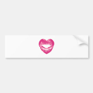 Heart shaped pink lips, lipstick traces, kissess bumper sticker