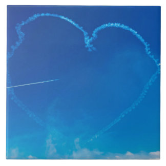 Heart-shaped plane trails ceramic tile