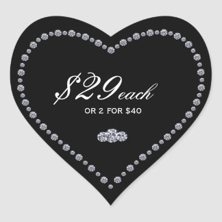 Heart Shaped Price Tag Stickers