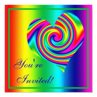 Heart Shaped Rainbow Twirl 13 Cm X 13 Cm Square Invitation Card