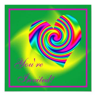 Heart Shaped Rainbow Twirl Invites